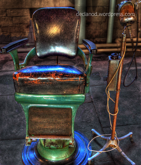 Venerable dentist's chair - on display at Salts Mill, Bradford, England