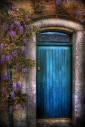 Green-blue door surrounded by Wisteria at Farmleigh, Dublin.