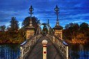 The Victoria Footbridge over the River Wye at Hereford, England.