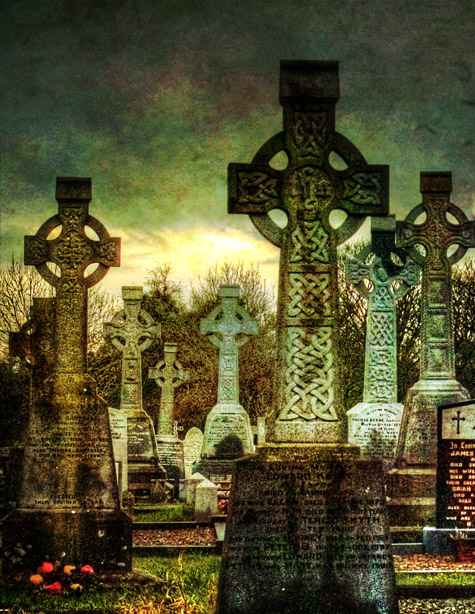 Celtic Crosses at Killanny Graveyard, County Louth, Ireland.