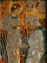 Panel in modeled glass with mother-of-pearl inlay by Frederick Marriott (1860-1941).