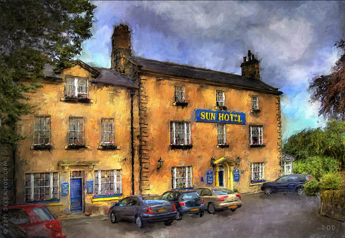 A digital painting of the Sun Hotel in Warkworth, Nothumberland, England