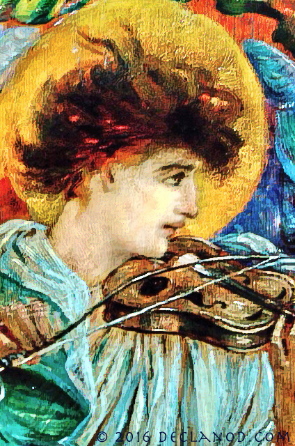 An angel playing a strinted instrument - rom a painted panel by Thomas Ralph Spence (1855-1903) in St George's Parish Church, Jesmond, Newcastle