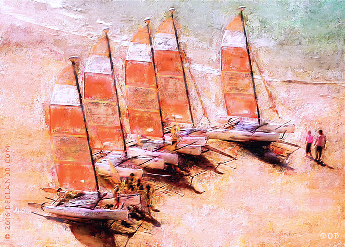 painterly art of Catamarans on the beach at Saint-Malo, Brittany, France.