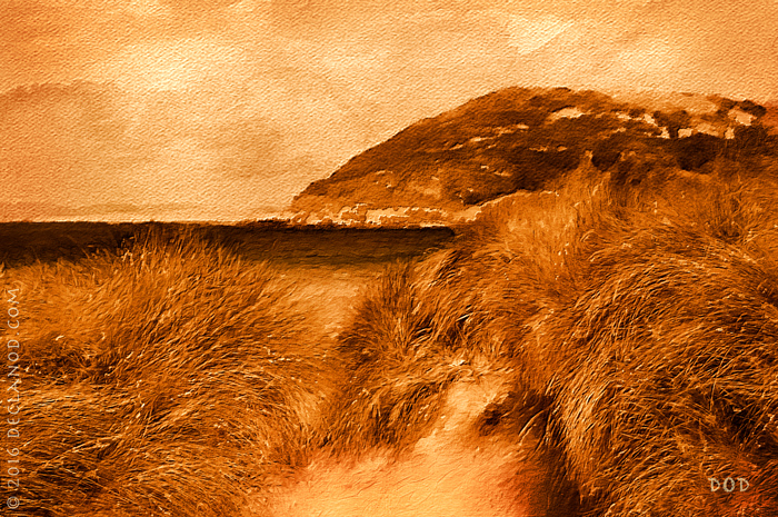 A sepia toned digital watercolour of Tullagh Bay and Binion in County Donegal, Ireland.