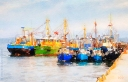 A digital watercolour painting of trawlers at Moville, County Donegal, Ireland